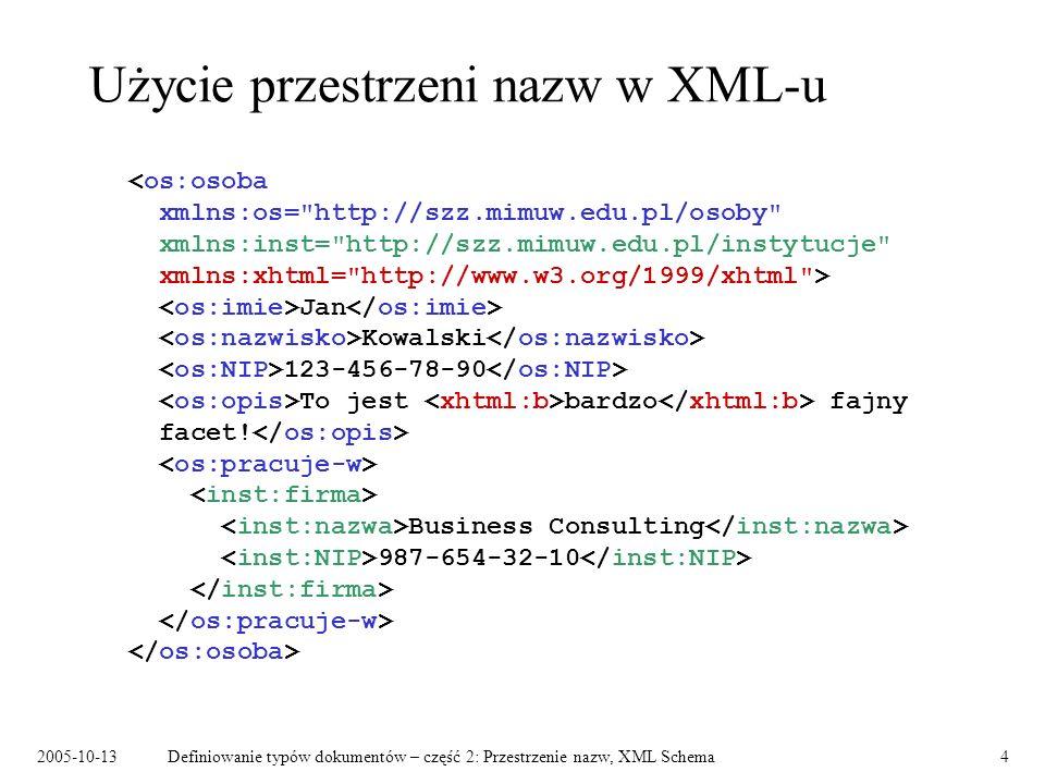 Użycie przestrzeni nazw w XML-u