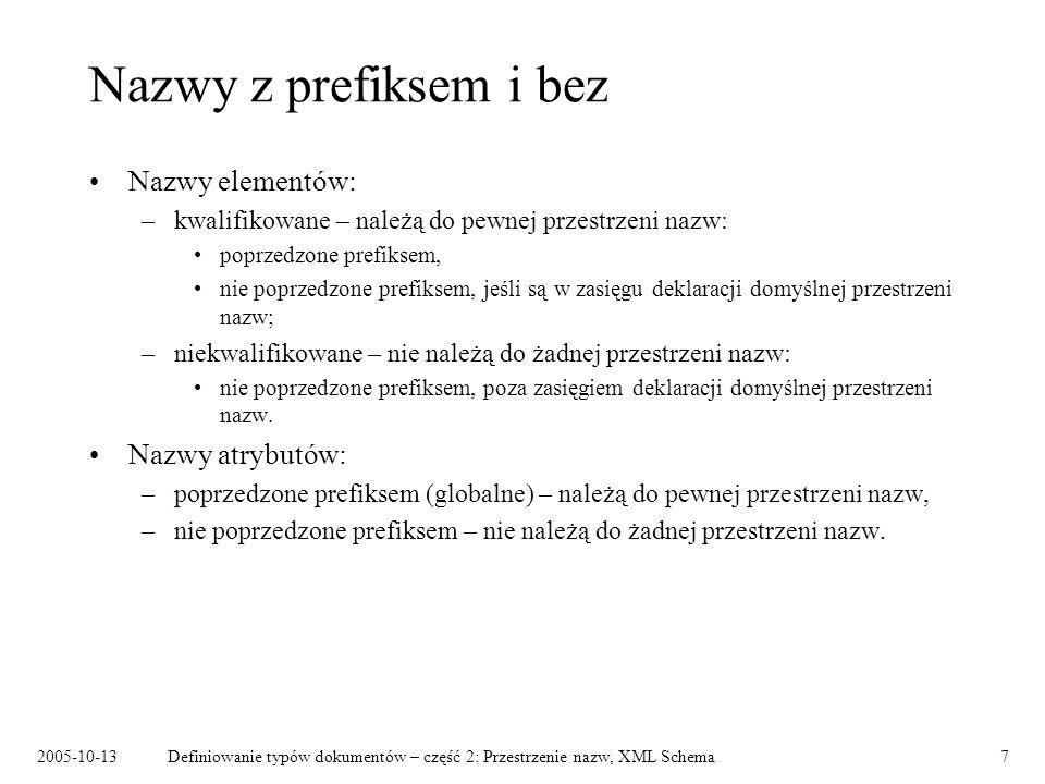 Nazwy z prefiksem i bez Nazwy elementów: Nazwy atrybutów: