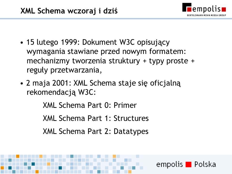 XML Schema wczoraj i dziś