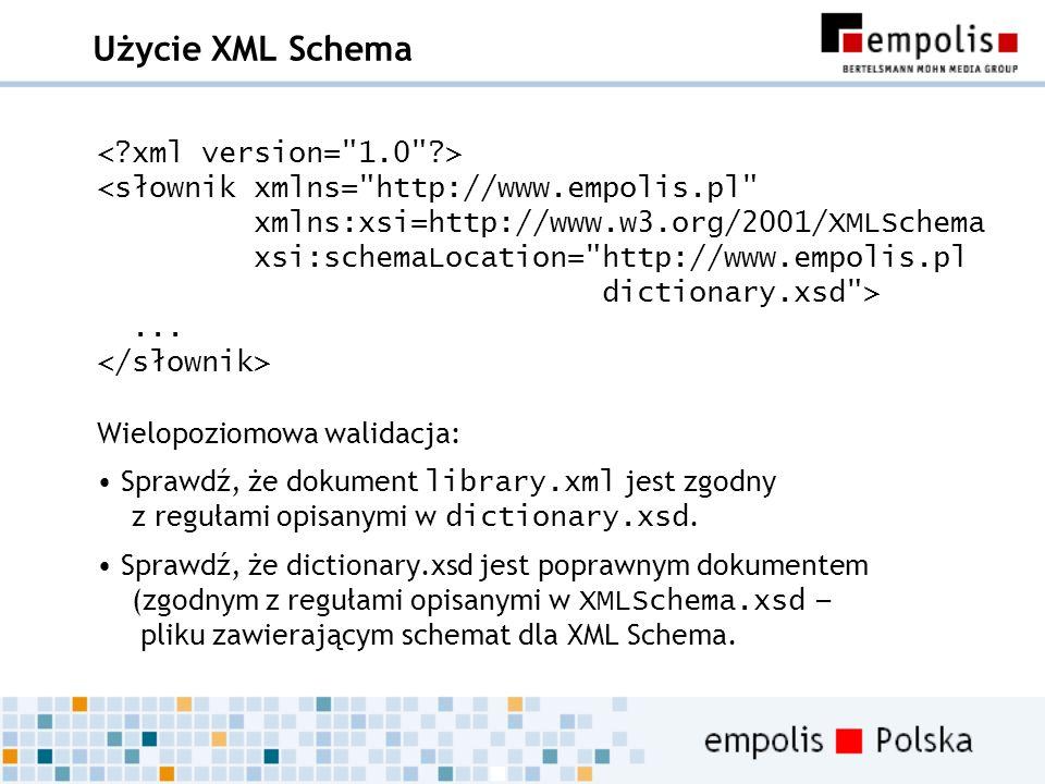 Użycie XML Schema