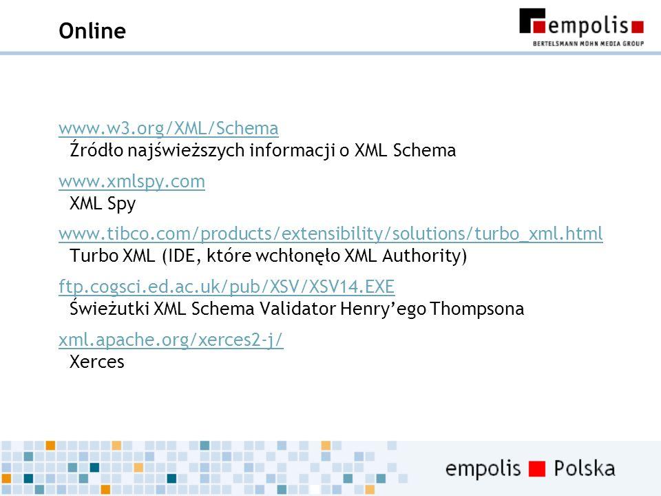 Online www.w3.org/XML/Schema Źródło najświeższych informacji o XML Schema. www.xmlspy.com XML Spy.