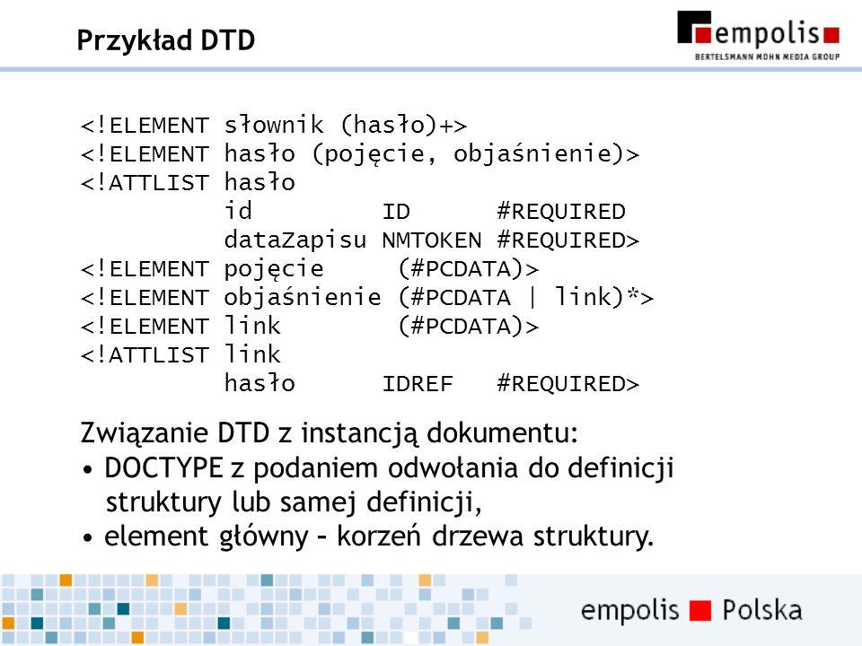 Związanie DTD z instancją dokumentu: