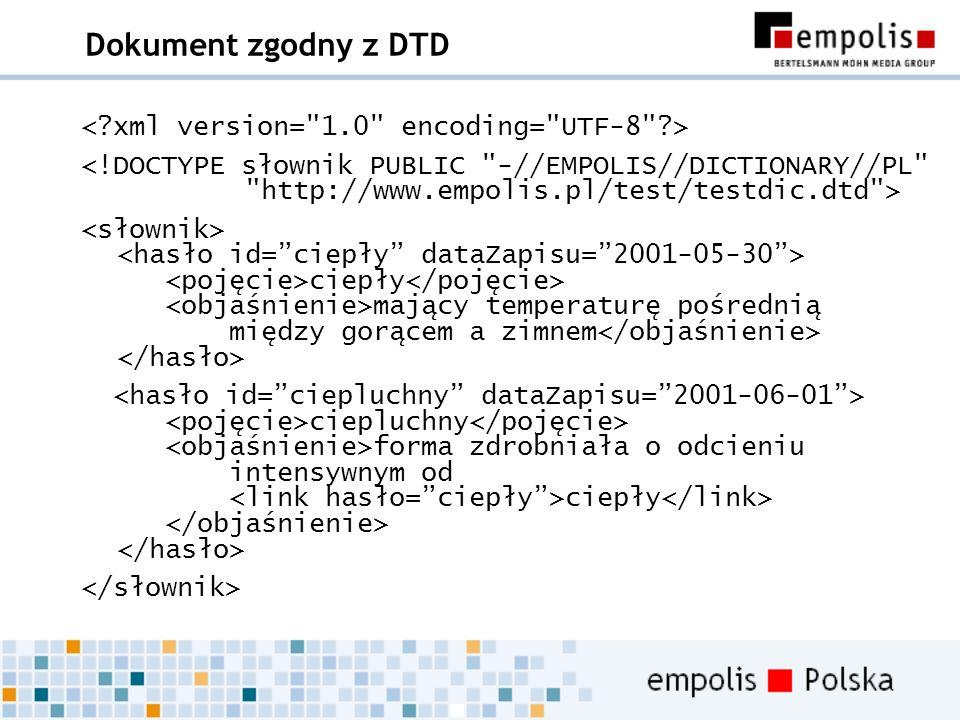Dokument zgodny z DTD < xml version= 1.0 encoding= UTF-8 >