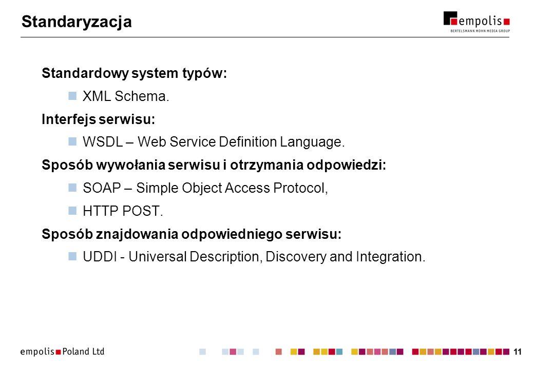 Standaryzacja Standardowy system typów: XML Schema. Interfejs serwisu: