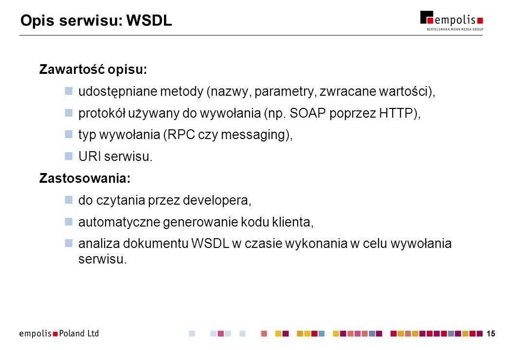 Opis serwisu: WSDL Zawartość opisu: