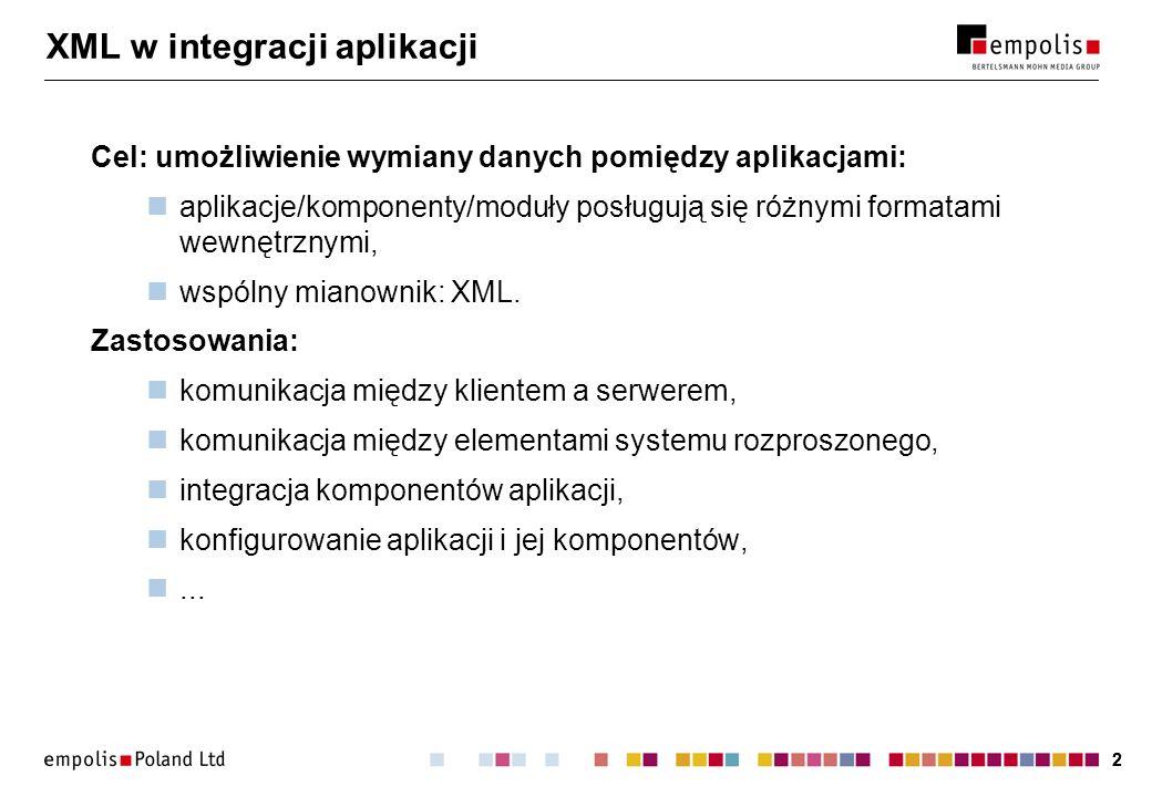 XML w integracji aplikacji