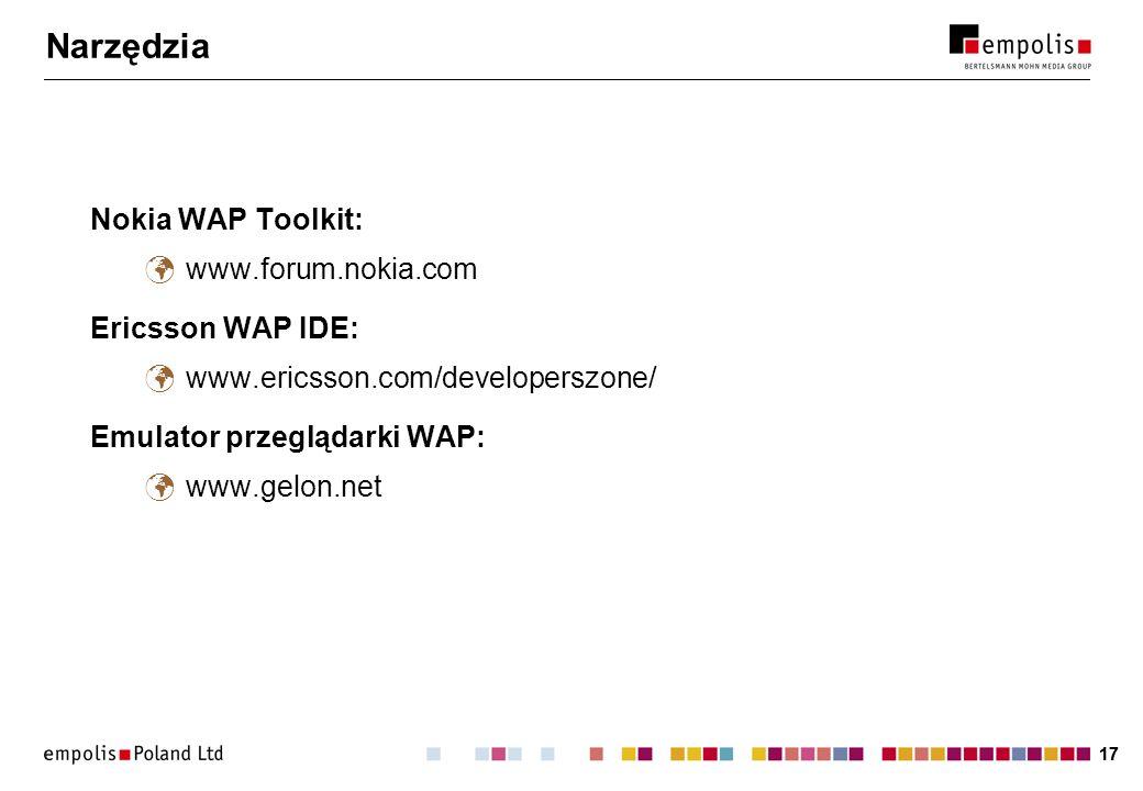 Narzędzia Nokia WAP Toolkit: www.forum.nokia.com Ericsson WAP IDE:
