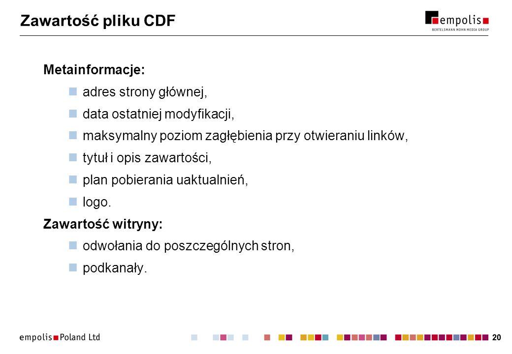 Zawartość pliku CDF Metainformacje: adres strony głównej,