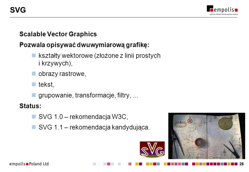 SVG Scalable Vector Graphics Pozwala opisywać dwuwymiarową grafikę:
