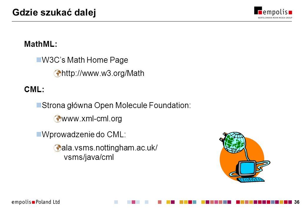 Gdzie szukać dalej MathML: W3C's Math Home Page http://www.w3.org/Math