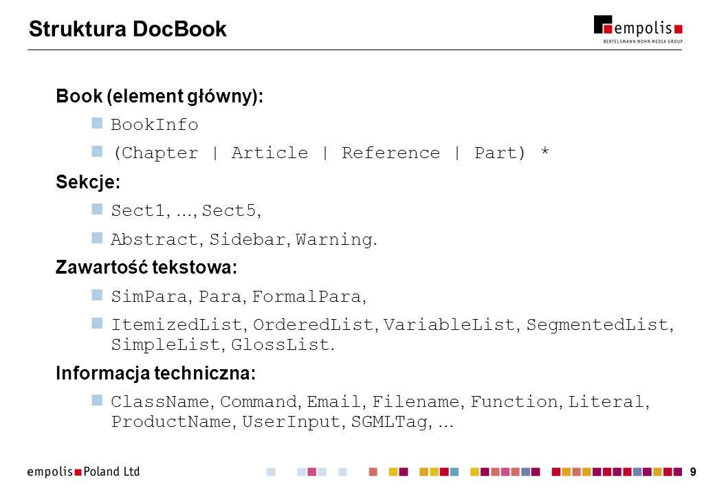Struktura DocBook Book (element główny): BookInfo