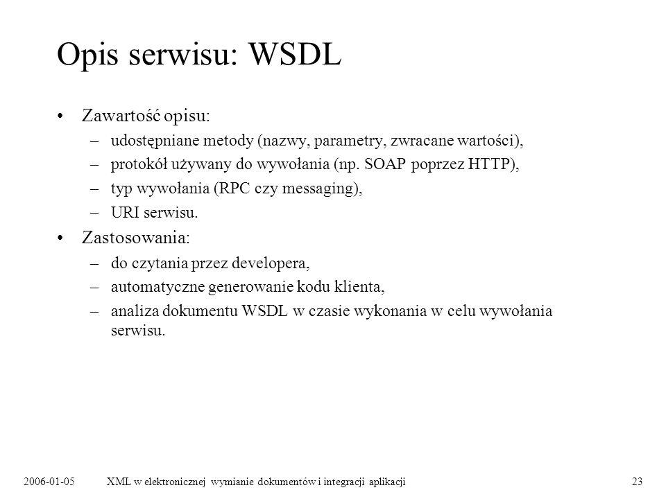 Opis serwisu: WSDL Zawartość opisu: Zastosowania: