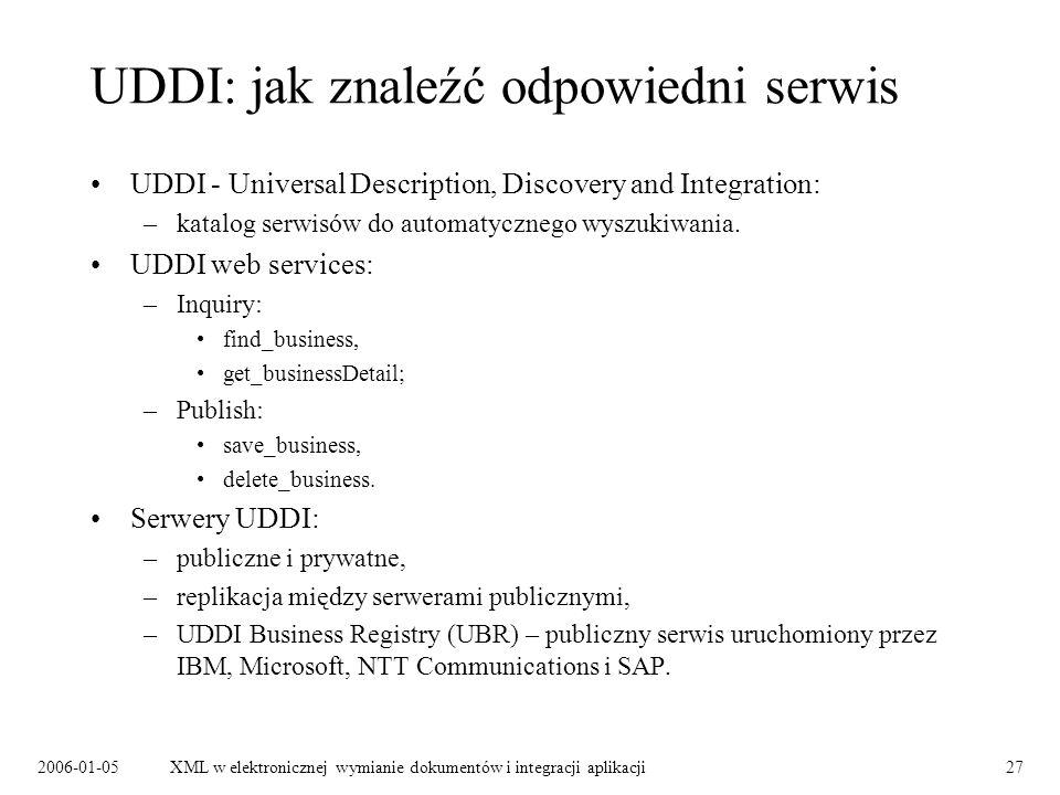 UDDI: jak znaleźć odpowiedni serwis