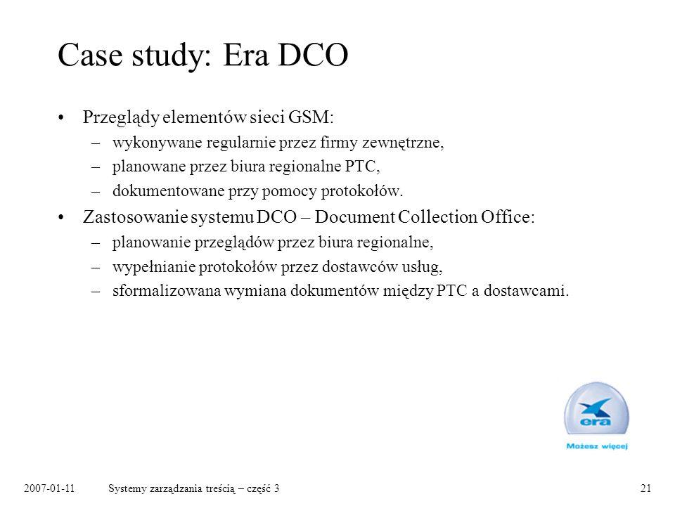 Case study: Era DCO Przeglądy elementów sieci GSM: