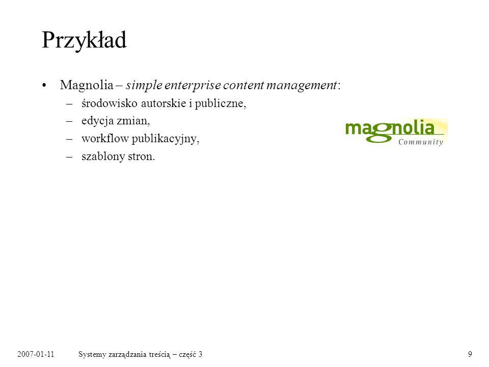 Przykład Magnolia – simple enterprise content management: