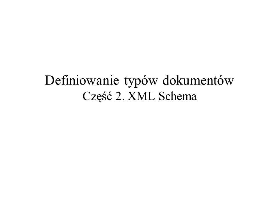 Definiowanie typów dokumentów Część 2. XML Schema