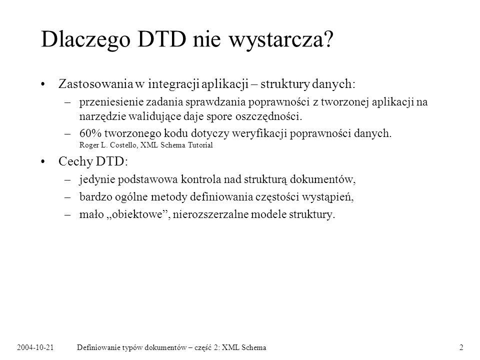 Dlaczego DTD nie wystarcza