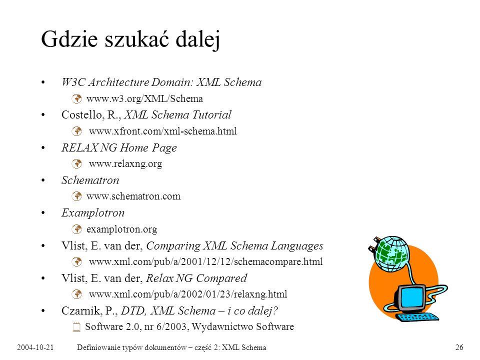 Gdzie szukać dalej W3C Architecture Domain: XML Schema