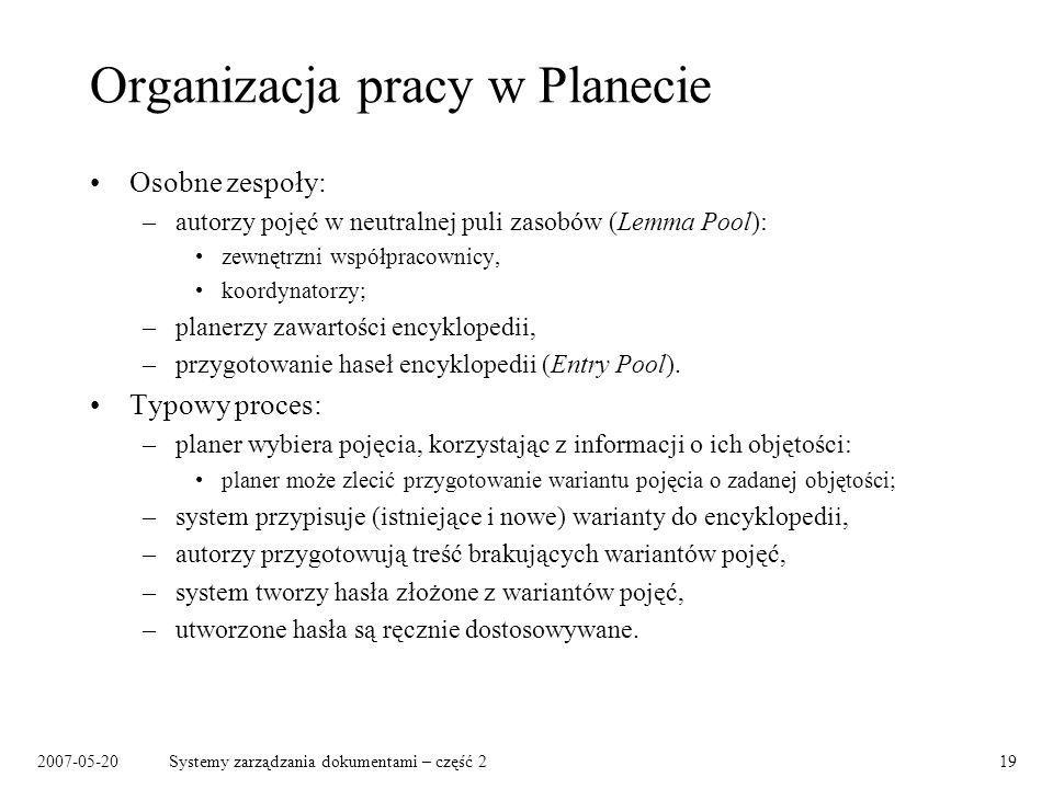 Organizacja pracy w Planecie