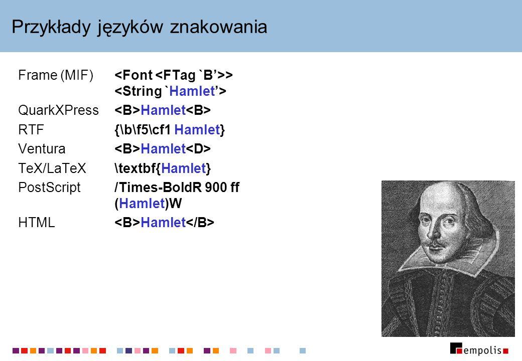 Przykłady języków znakowania