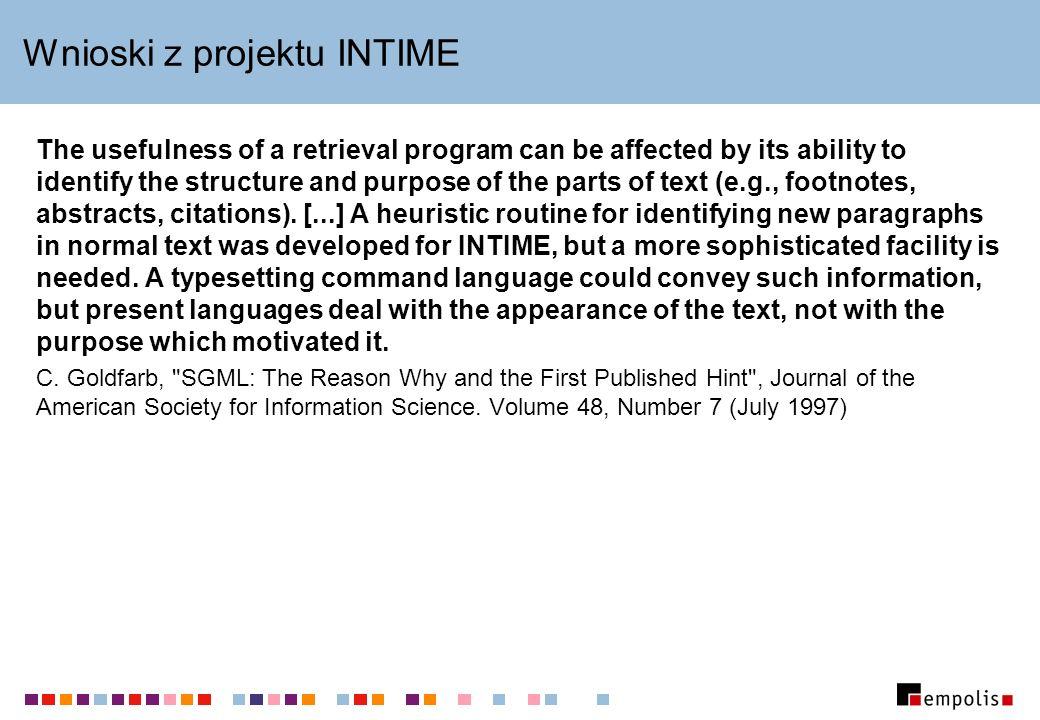 Wnioski z projektu INTIME