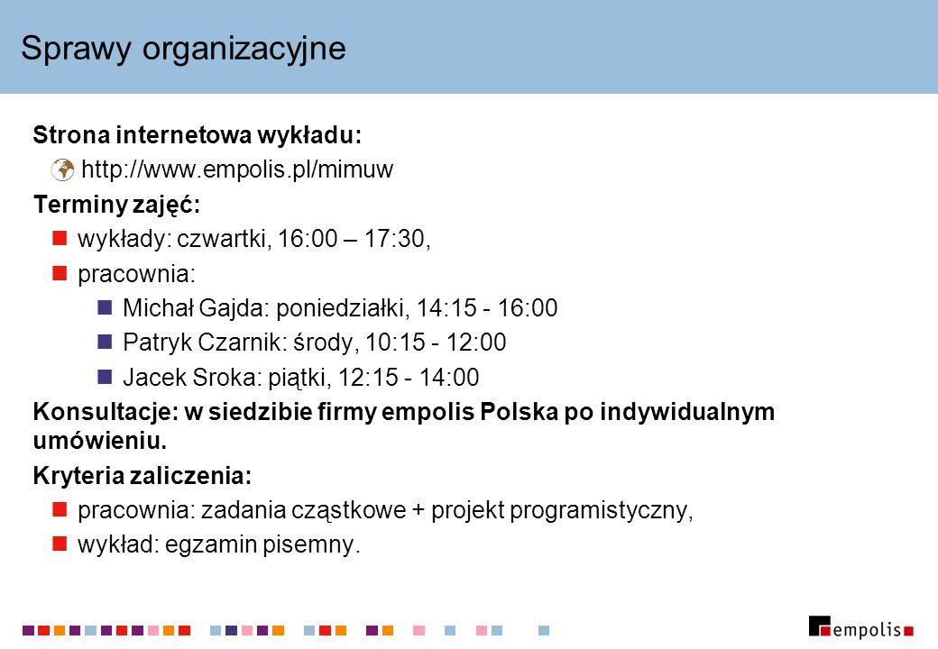 Sprawy organizacyjne Strona internetowa wykładu: