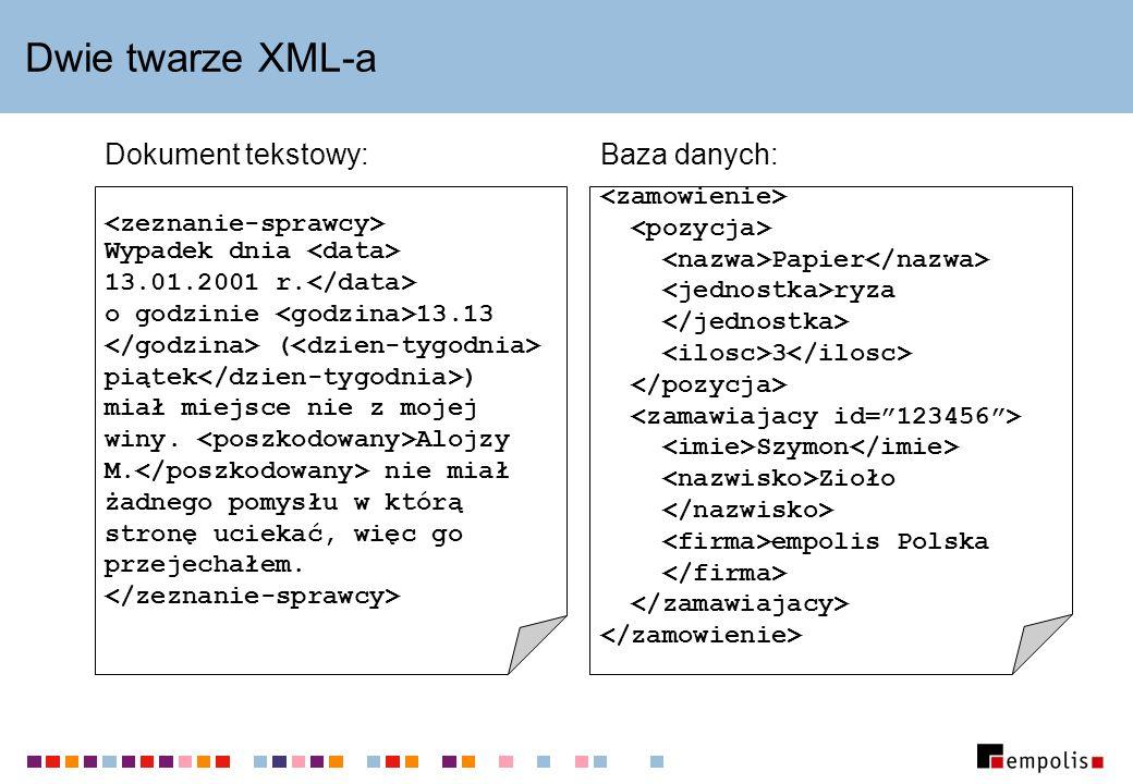 Dwie twarze XML-a Dokument tekstowy: Baza danych: <zamowienie>