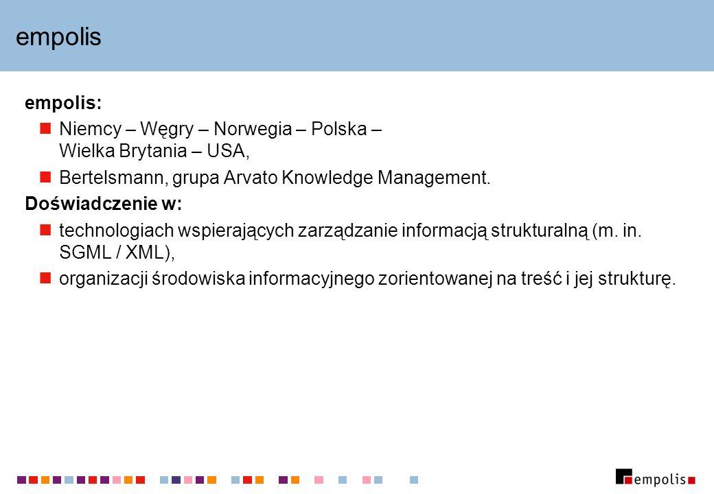 empolis empolis: Niemcy – Węgry – Norwegia – Polska – Wielka Brytania – USA, Bertelsmann, grupa Arvato Knowledge Management.
