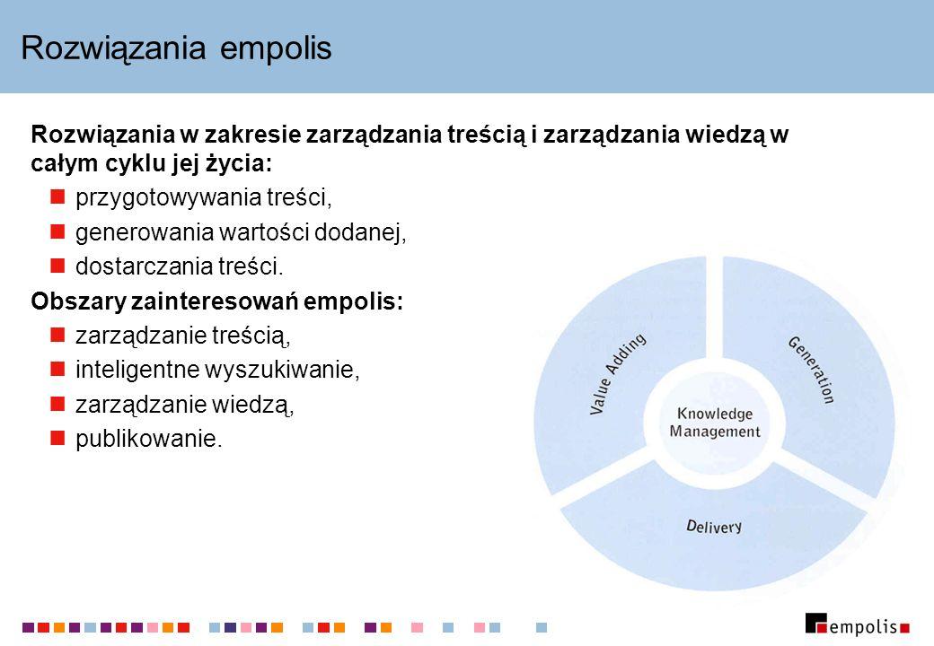 Rozwiązania empolis Rozwiązania w zakresie zarządzania treścią i zarządzania wiedzą w całym cyklu jej życia: