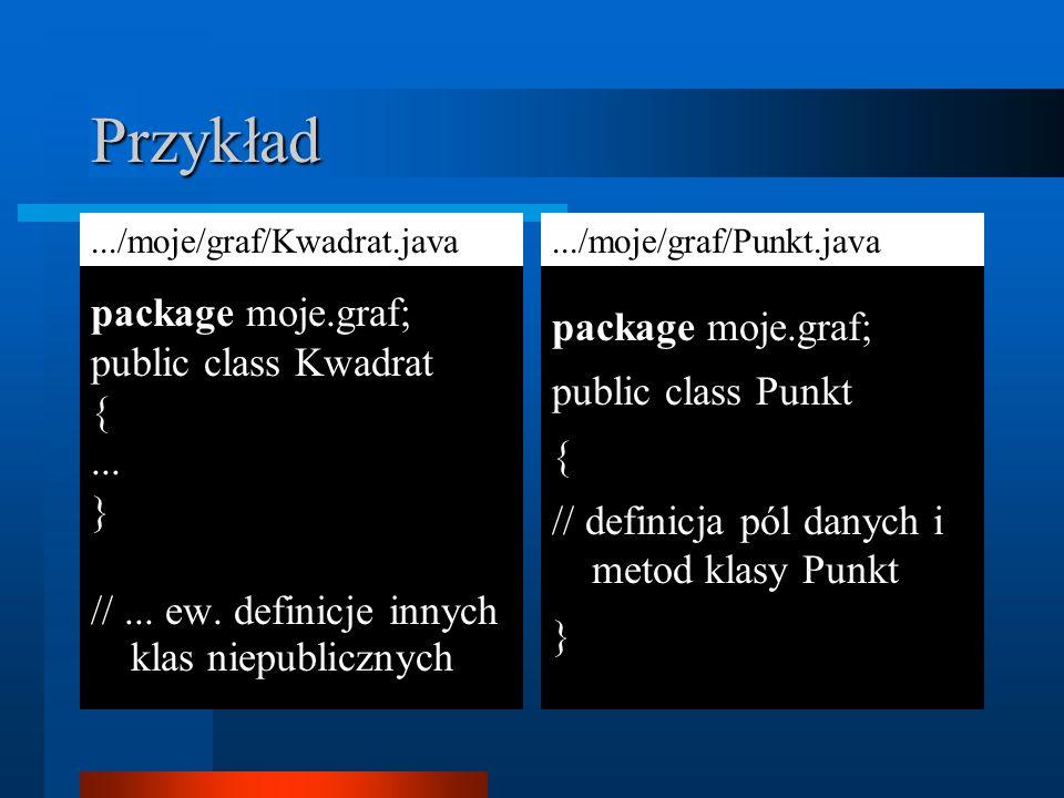 Przykład package moje.graf; package moje.graf; public class Kwadrat