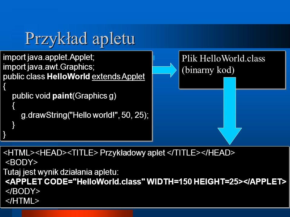 Przykład apletu Plik HelloWorld.class (binarny kod)