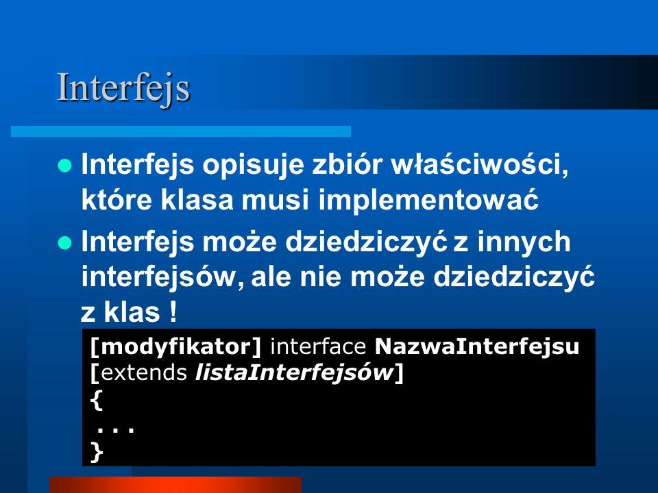 Interfejs Interfejs opisuje zbiór właściwości, które klasa musi implementować.