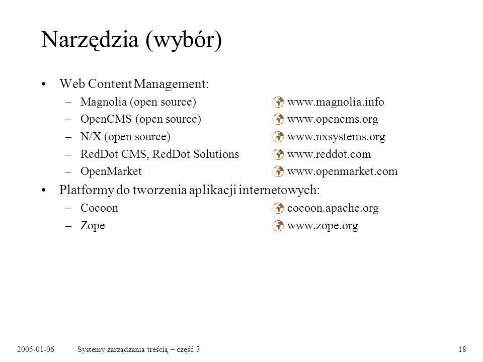 Narzędzia (wybór) Web Content Management: