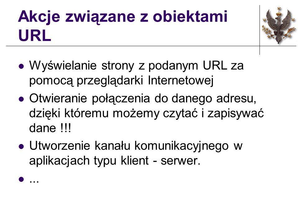 Akcje związane z obiektami URL