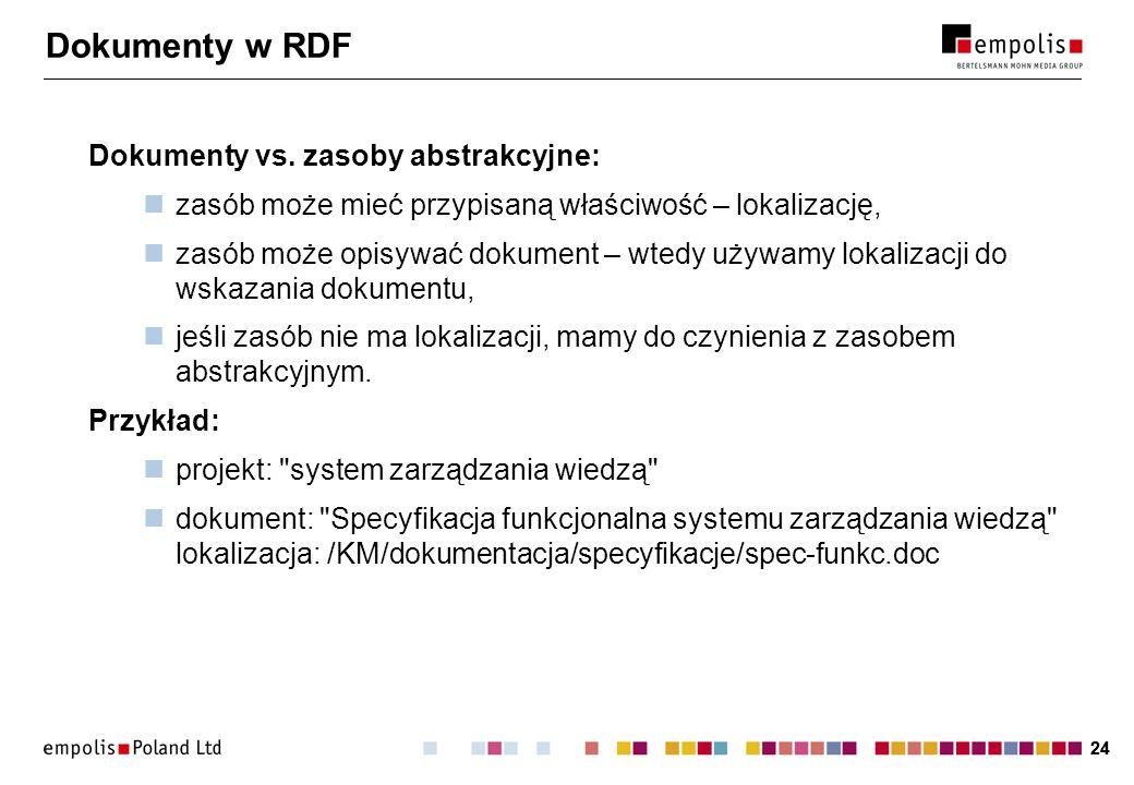 Dokumenty w RDF Dokumenty vs. zasoby abstrakcyjne: