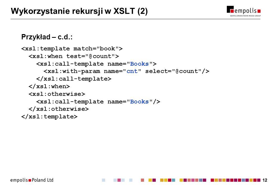 Wykorzystanie rekursji w XSLT (2)