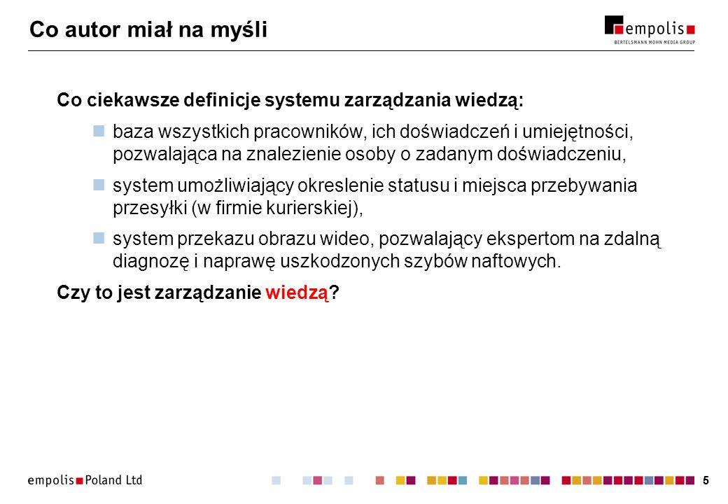 Co autor miał na myśli Co ciekawsze definicje systemu zarządzania wiedzą: