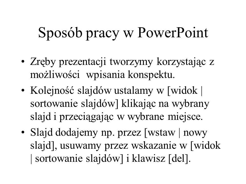 Sposób pracy w PowerPoint