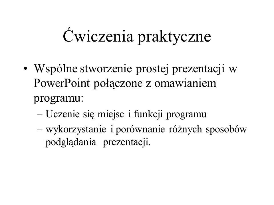 Ćwiczenia praktyczne Wspólne stworzenie prostej prezentacji w PowerPoint połączone z omawianiem programu: