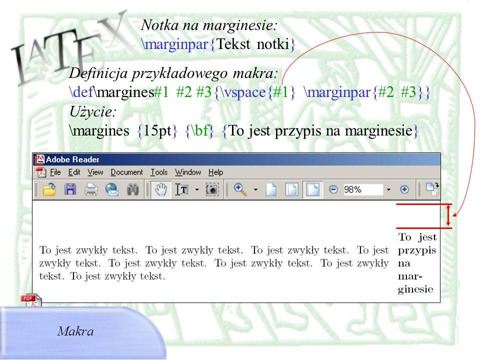 \marginpar{Tekst notki}