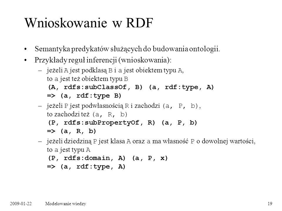 Wnioskowanie w RDF Semantyka predykatów służących do budowania ontologii. Przykłady reguł inferencji (wnioskowania):