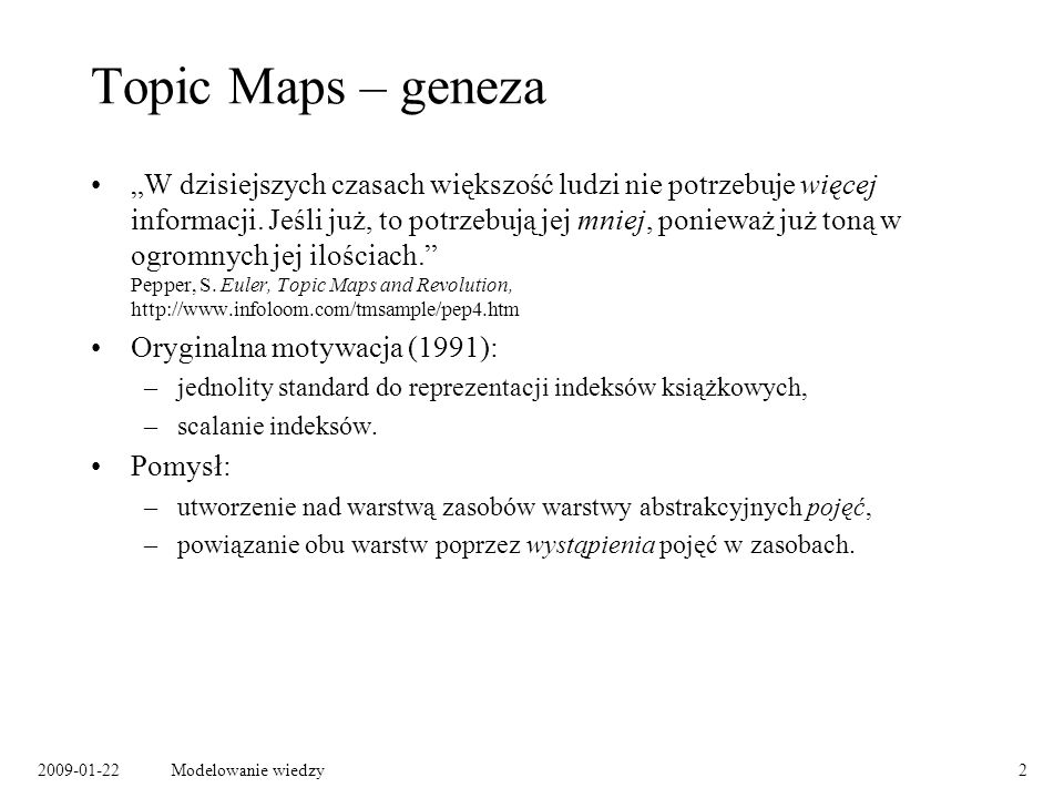 Topic Maps – geneza