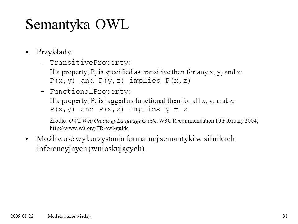 Semantyka OWL Przykłady: