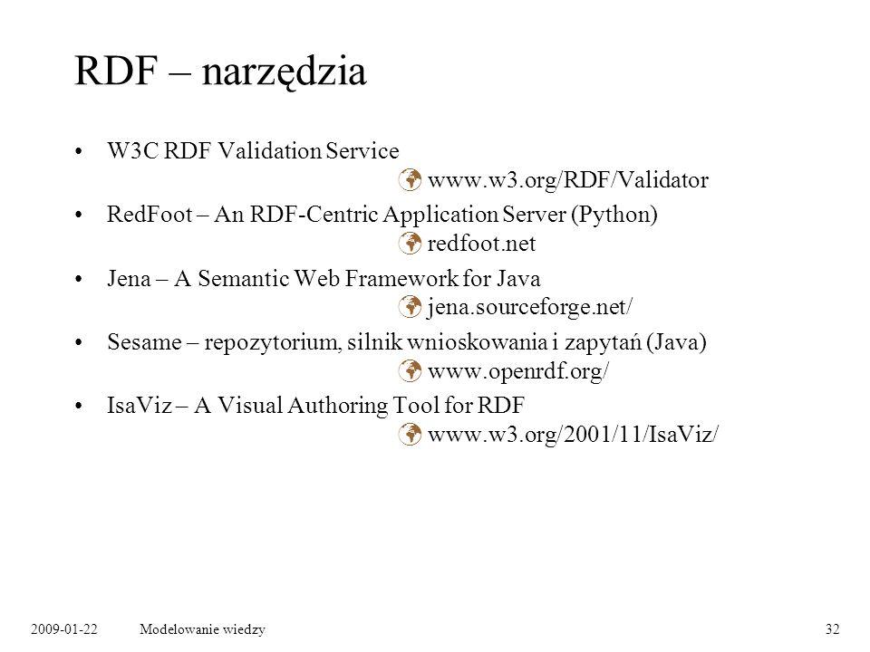 RDF – narzędzia W3C RDF Validation Service  www.w3.org/RDF/Validator