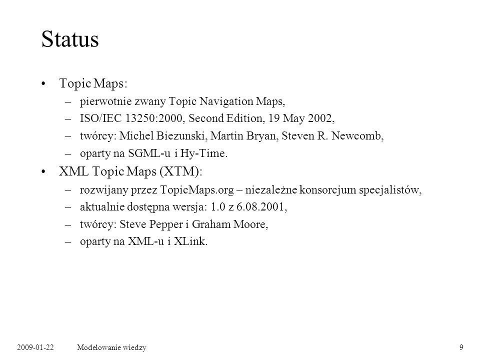 Status Topic Maps: XML Topic Maps (XTM):