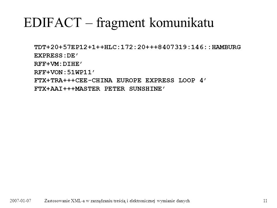 EDIFACT – fragment komunikatu