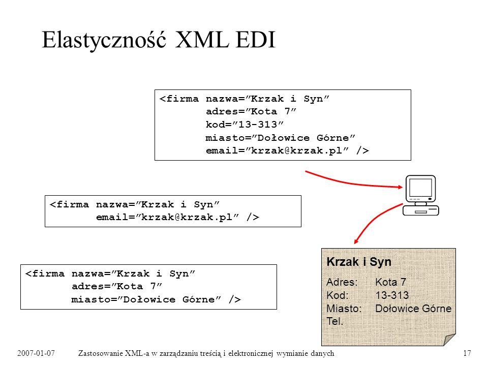 Elastyczność XML EDI Krzak i Syn