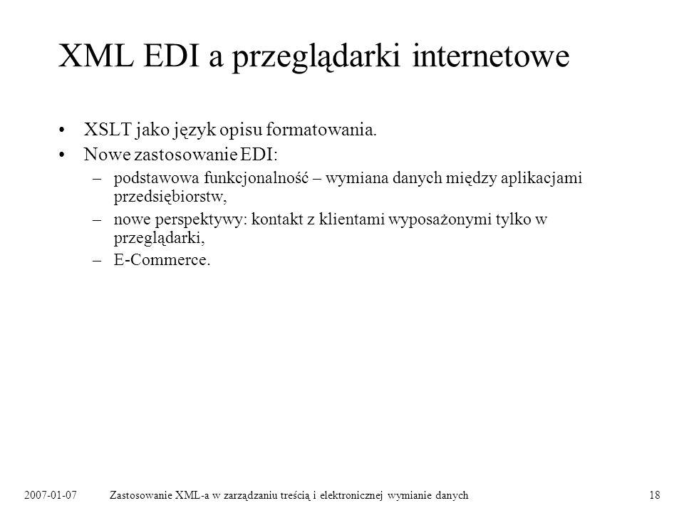XML EDI a przeglądarki internetowe