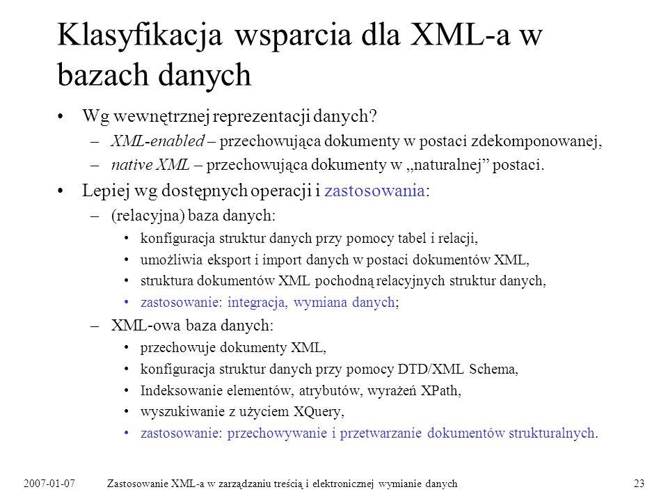 Klasyfikacja wsparcia dla XML-a w bazach danych
