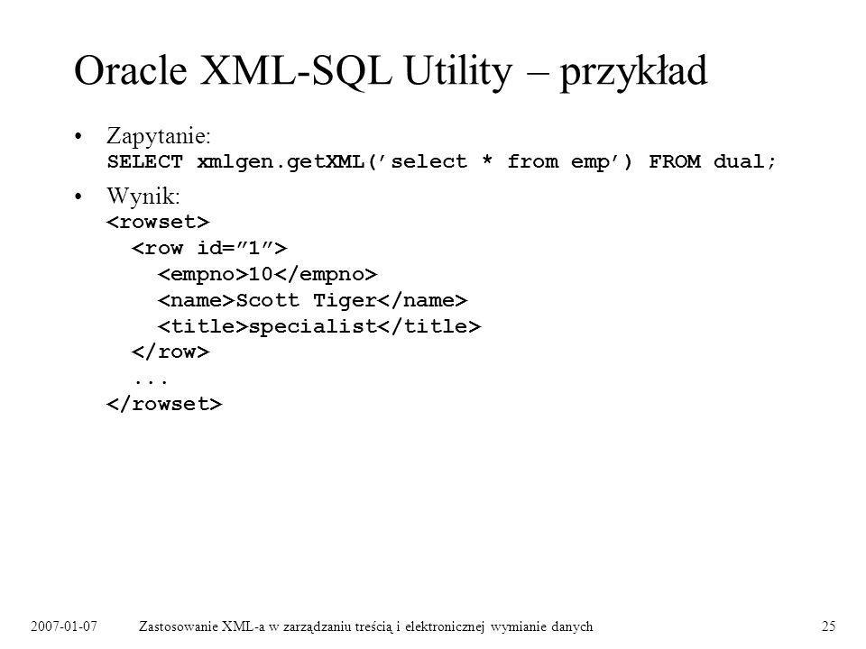 Oracle XML-SQL Utility – przykład